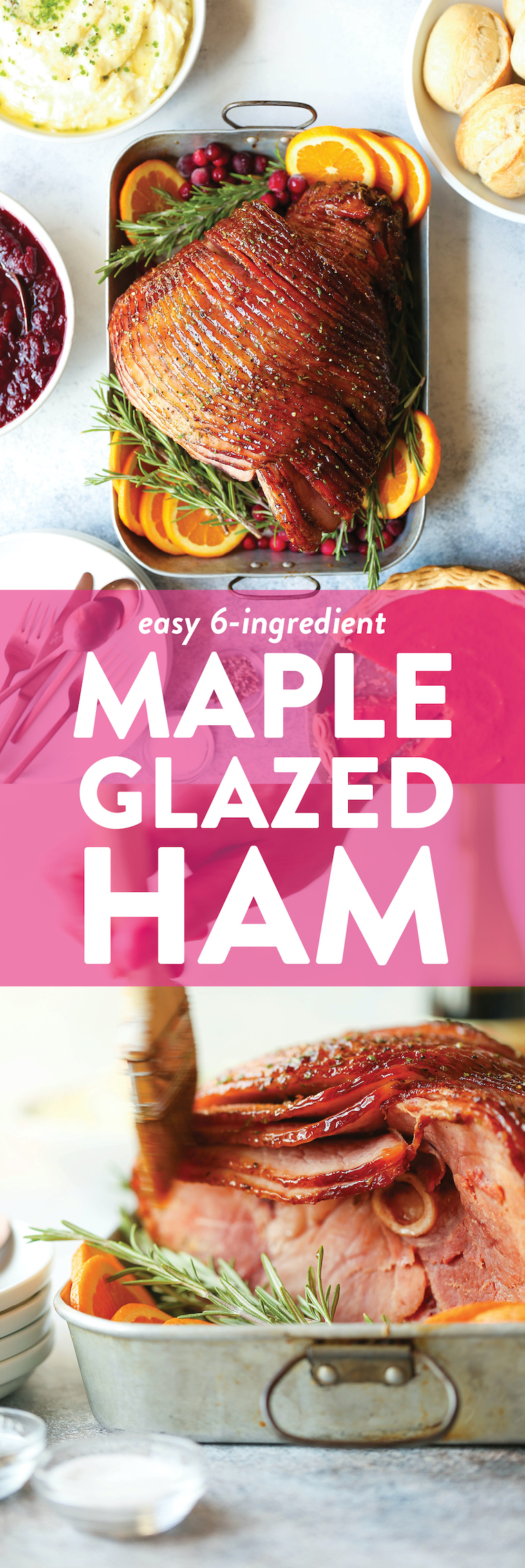 Maple Glazed Ham - The classic ham is made with the most incredible maple, brown sugar glaze. With just a few ingredients, this will be a hit with everyone!