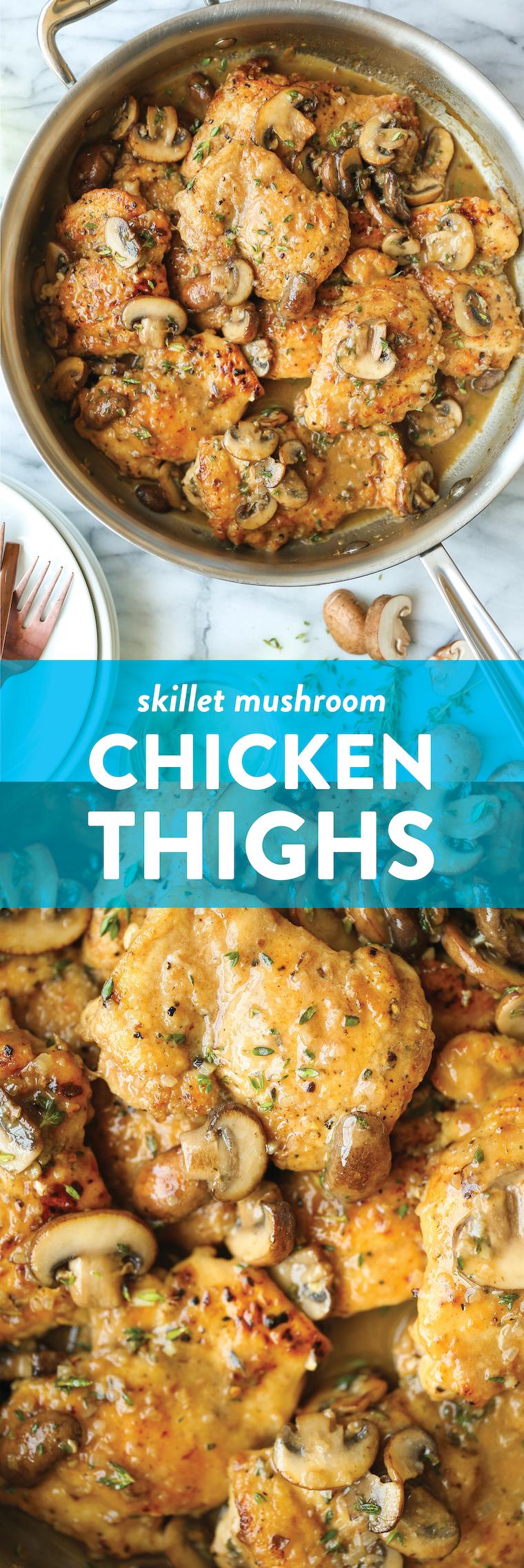 Skillet Mushroom Chicken Thighs - Golden brown, super juicy, tender chicken smothered in a garlicky, mushroom butter sauce. 30 min. So quick, so so good!