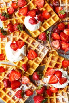 Strawberries and Cream Buttermilk Waffles