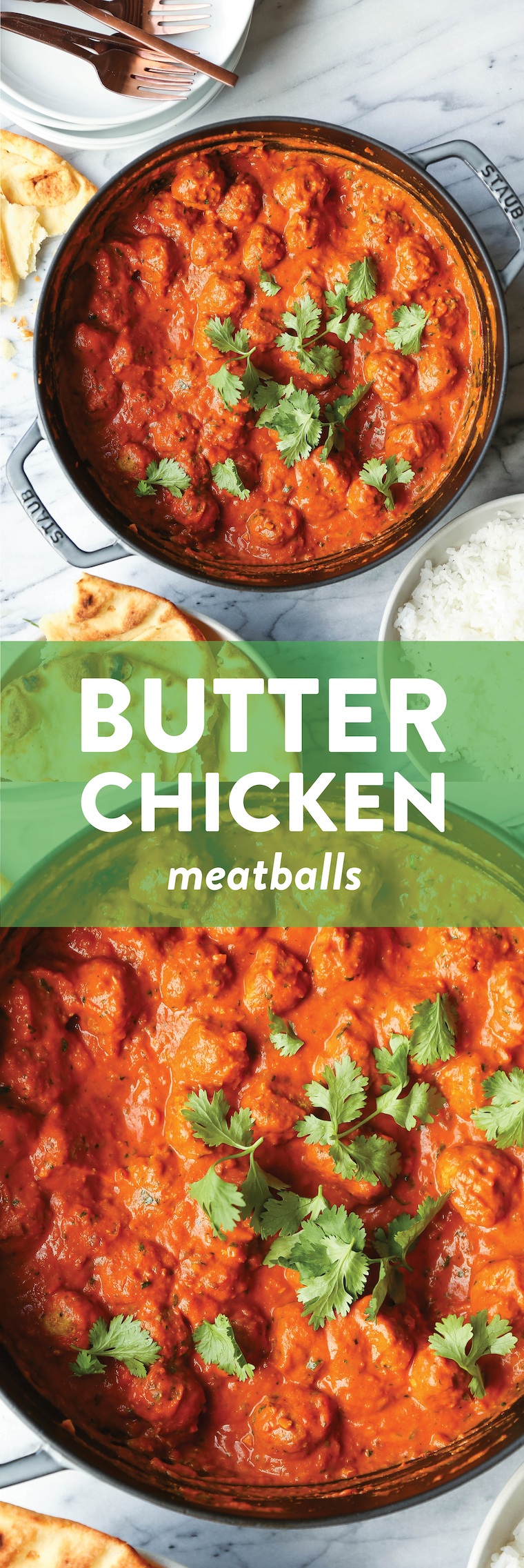 Butter Chicken Meatballs - Everyone's favorite butter chicken made into the most tender, most amazing meatballs! So saucy, so good. Serve with rice + naan!