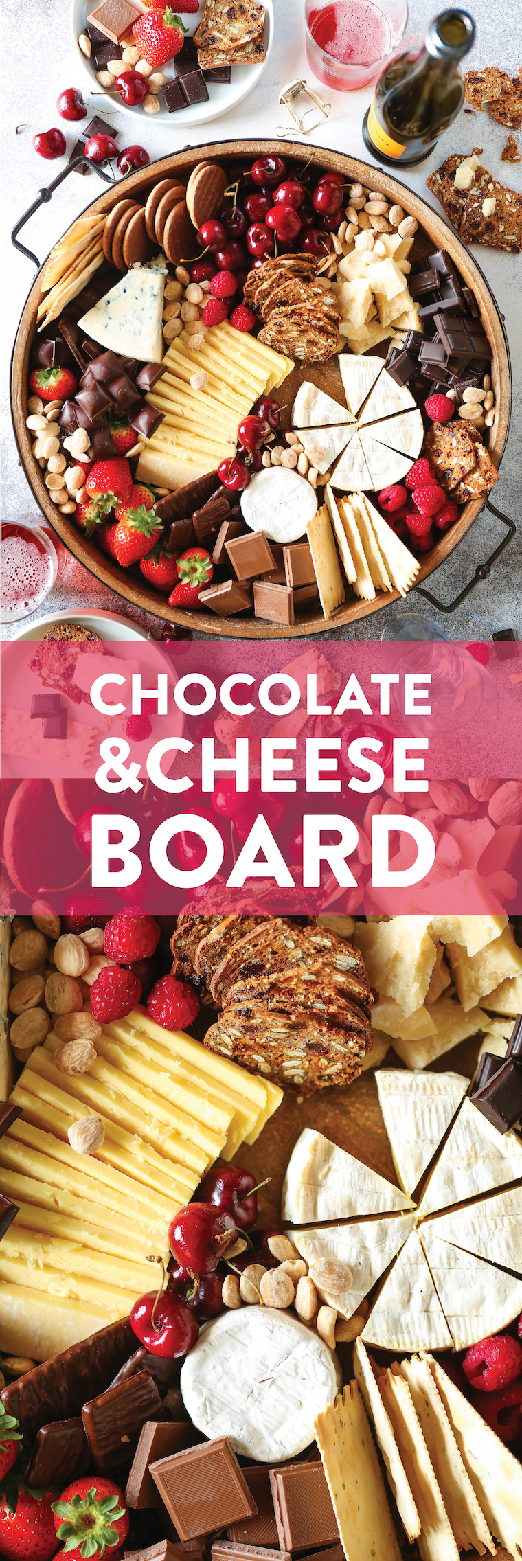 Chocolate and Cheese Board - Dark chocolate, cheeses, crackers, cherries + fresh berries. The most epic dessert cheese board for any date or get-together!
