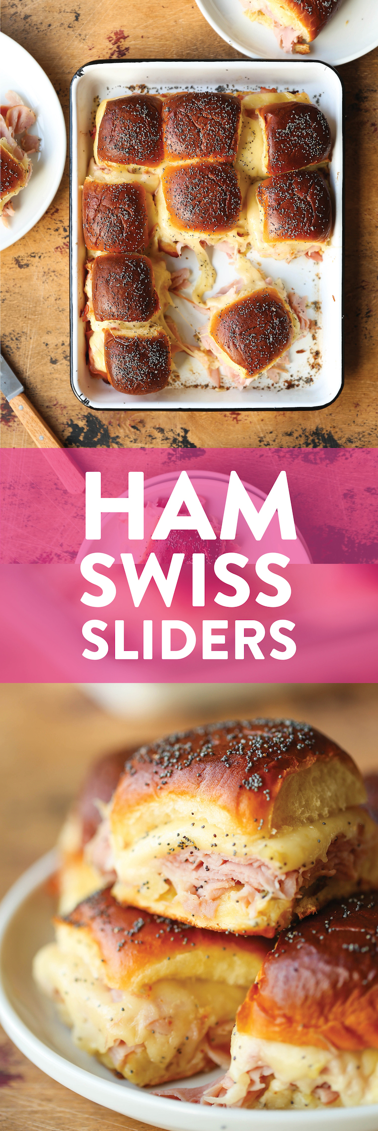 Ham and Swiss Sliders - Ham, Swiss cheese, Dijon, and oh-so-buttery Hawaiian rolls, all baked to absolute perfection. So easy and perfect for a big crowd!