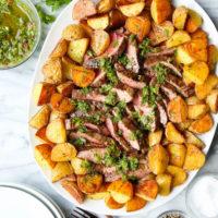Steak and Potatoes with 5 Minute Chimichurri Sauce