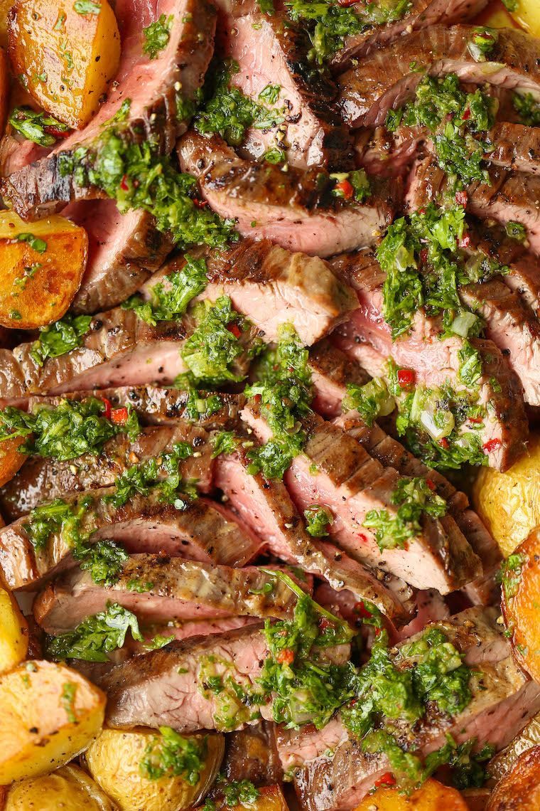 Steak and Potatoes with 5 Minute Chimichurri Sauce - Melt-in-your-mouth perfectly cooked steak, the crispiest potatoes and the quickest chimichurri sauce!