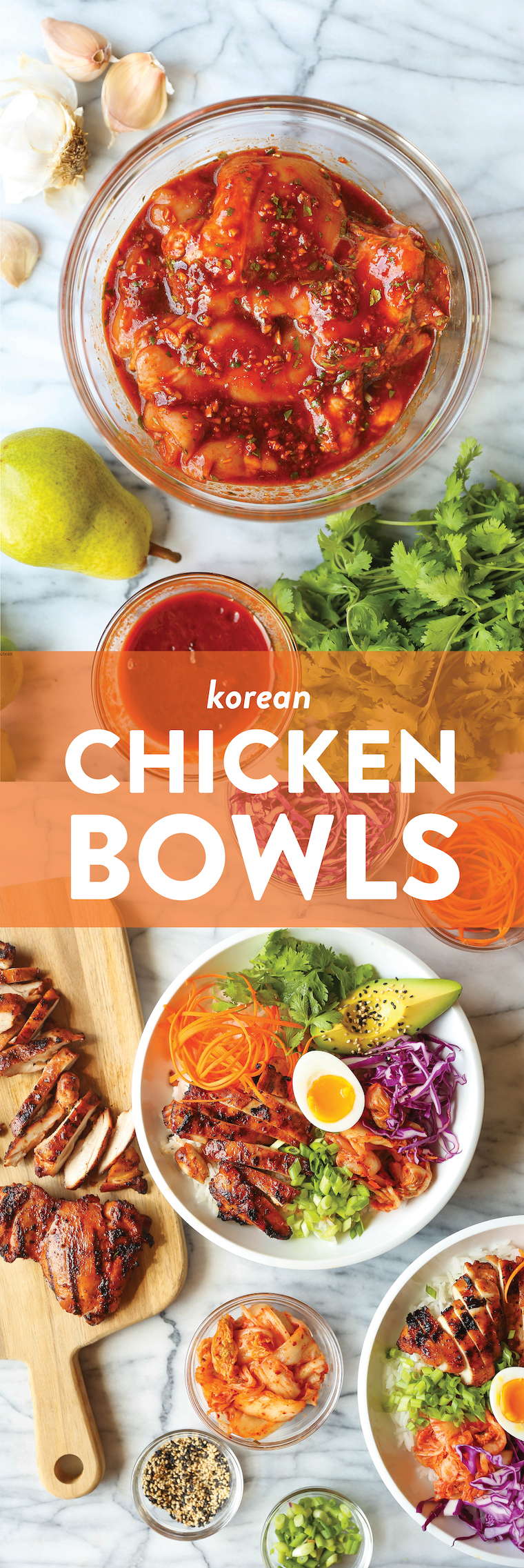 Korean Chicken Bowls - Juicy, flavorful Korean chicken bowls made with the easiest marinade ever! Serve with your choice of grain/rice and desired toppings!