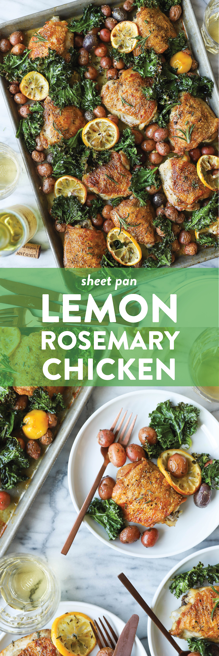 Sheet Pan Lemon Rosemary Chicken - SHEET PAN DINNER! Crispy, juicy chicken thighs with tender baby potatoes and crisped kale. So hearty, so good, so easy!