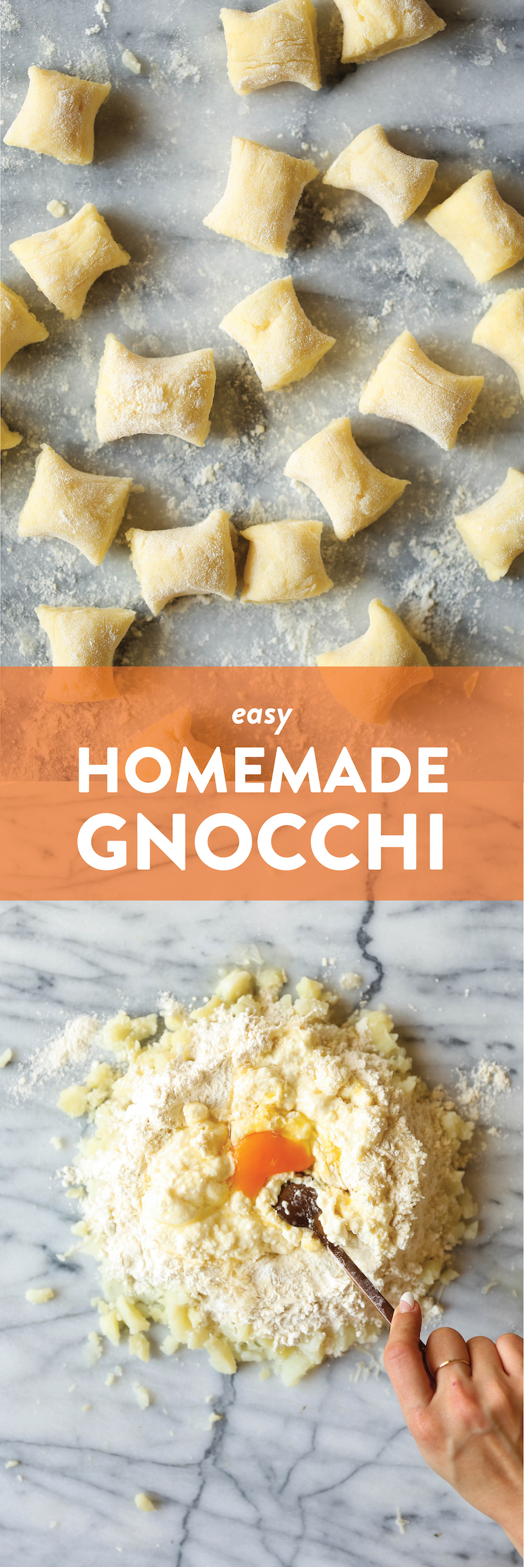 Homemade Gnocchi - Super light, pillow-y and fluffy, AND SO EASY to make with just 5 ingredients! You won't be able to go back to store-bought gnocchi!!!