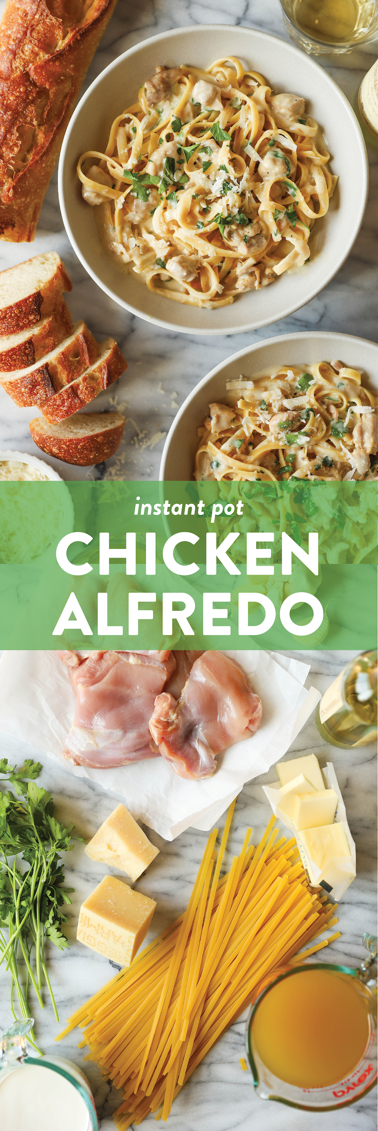 Instant Pot Chicken Alfredo - A one pot, no fuss, no babysitting dinner! Even the uncooked pasta cooks right in the IP, soaking up all that creamy goodness!