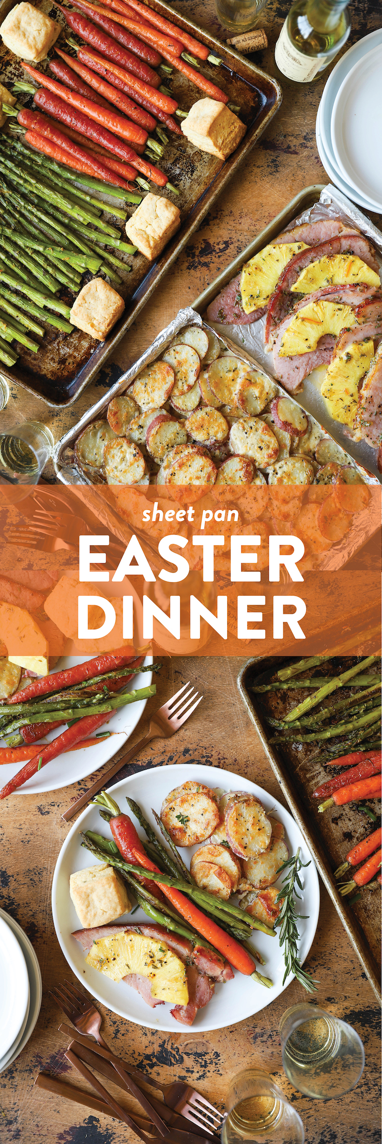 Sheet Pan Easter Dinner - Pineapple ham, scalloped potatoes, lemon garlic asparagus, honey roasted carrots, and fluffy mile-high biscuits on TWO SHEET PANS!