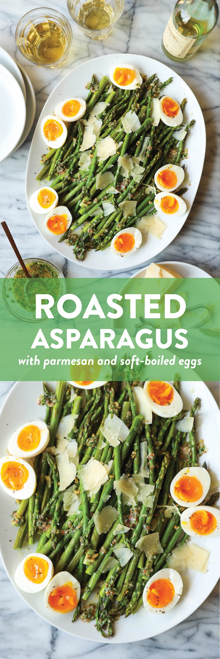 Roasted Asparagus with Parmesan + Soft-Boiled Eggs - This is truly the only way to prepare asparagus! Roasted perfectly until crisp-tender and served with a refreshing tarragon vinaigrette, soft-boiled eggs and freshly shaved Parmesan.