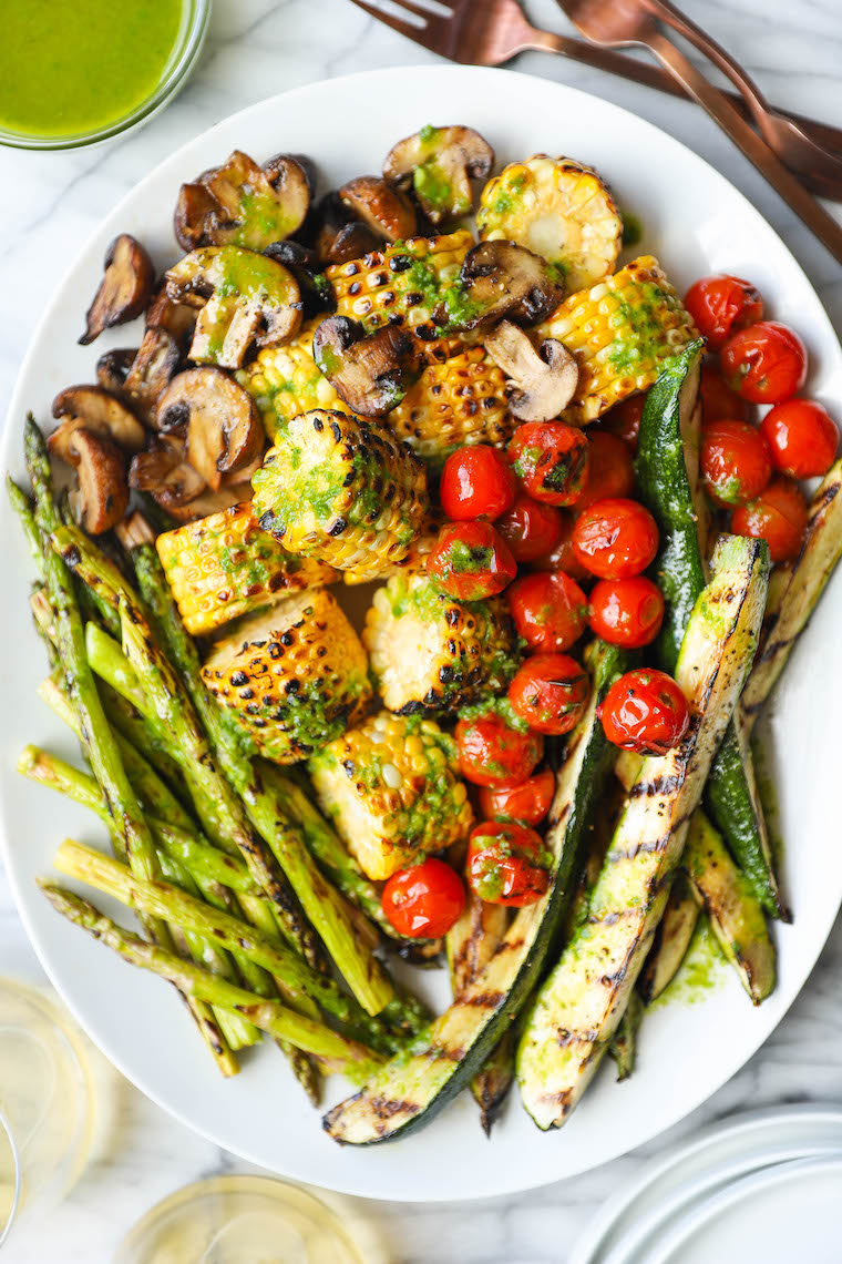 Easy Grilled Vegetables - Perfectly crisp-tender grilled veggies served with an amazing, tangy, garlicky basil sauce. You'll want this sauce on everything!