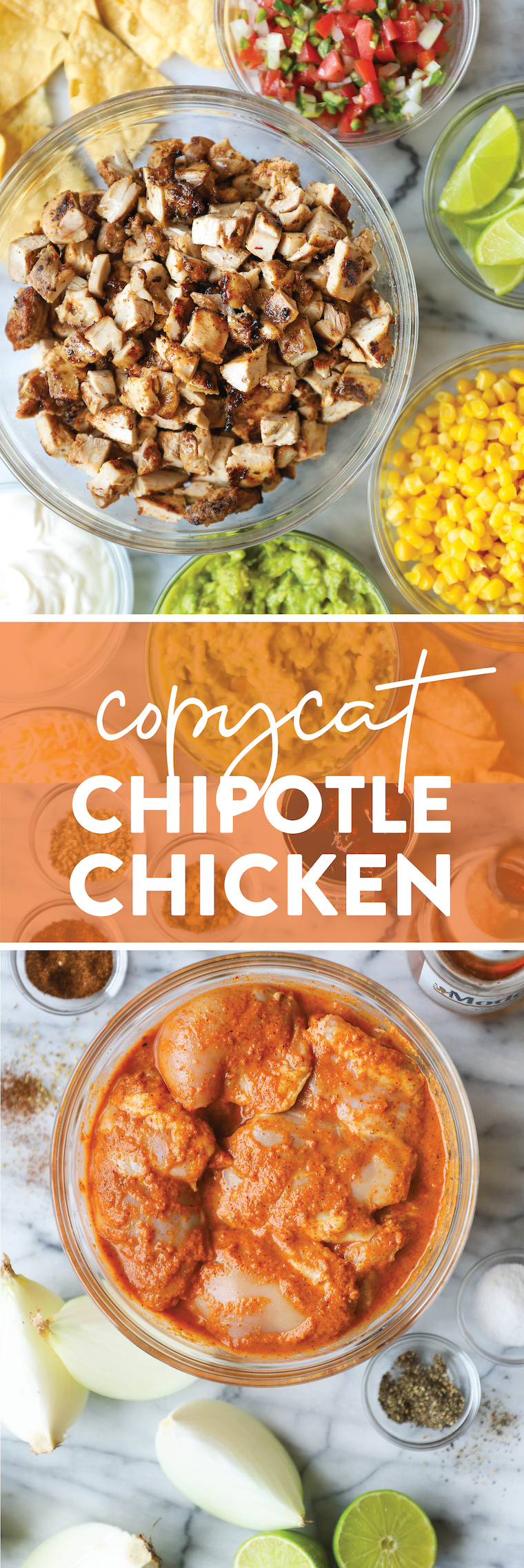Copycat Chipotle Chicken - Seriously SO SO GOOD. Perfect for burritos and/or burrito bowls! And it's even better than Chipotle, but shhhhh!