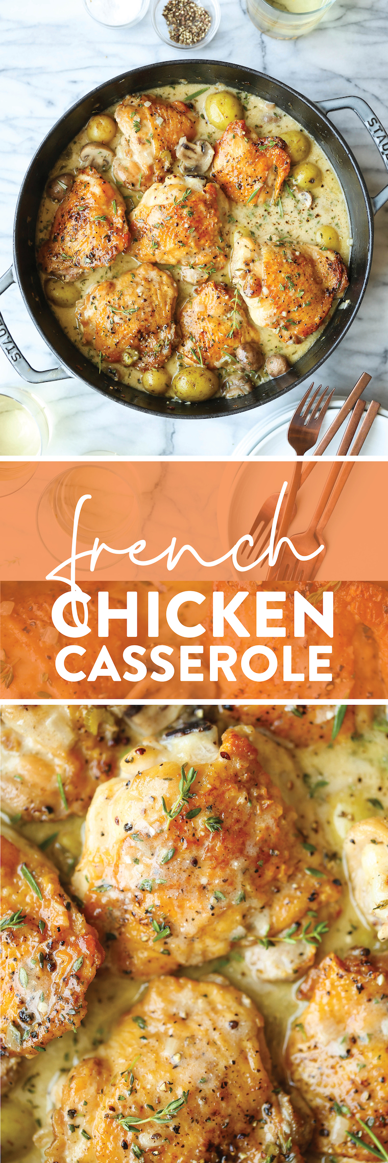 French Chicken Casserole - The coziest, most wholesome meal. With golden brown chicken, tender potatoes, white wine, fresh rosemary + thyme.