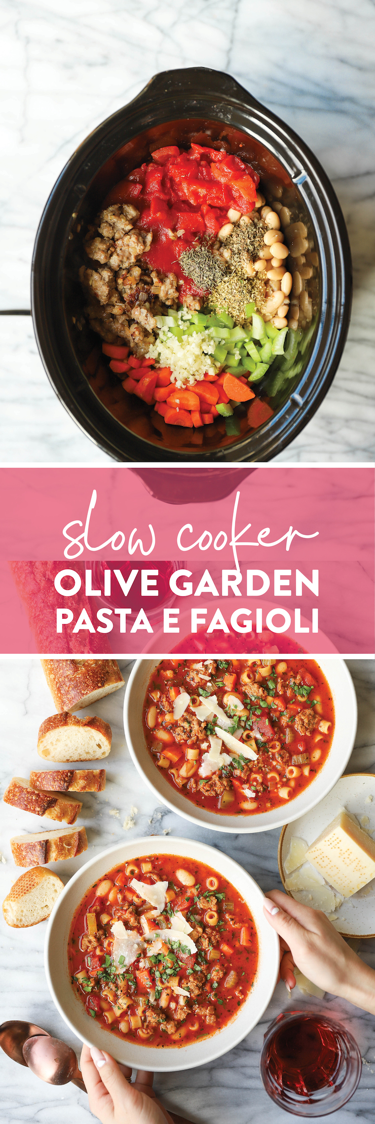 Slow Cooker Olive Garden Pasta e Fagioli - Everyone's FAVORITE Olive Garden soup made so easily in the crockpot! Just set it and forget it!