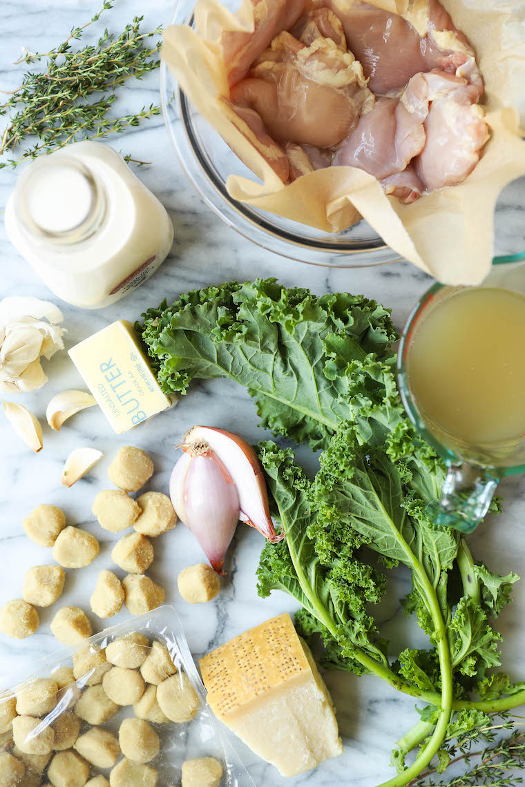 Creamy Chicken and Gnocchi - Chewy gnocchi, garlic cream sauce, tender and juicy chicken thighs and kale sneaking out?  Yes, 1000% yes.