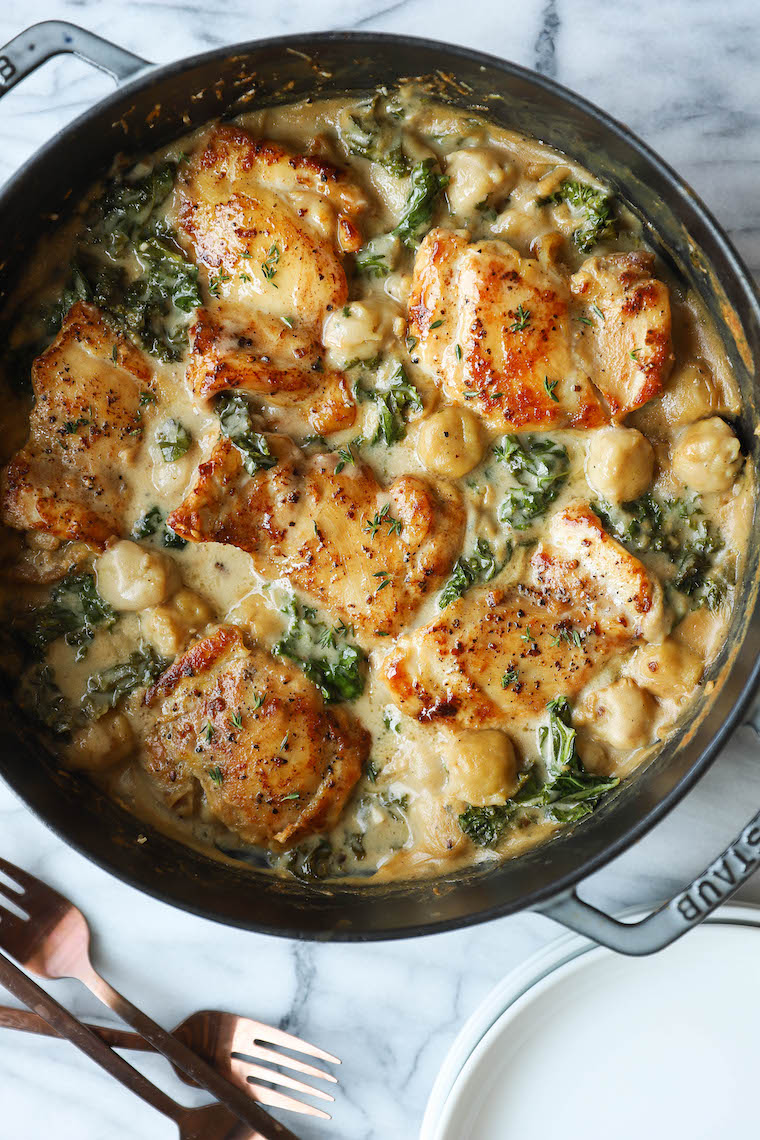 Creamy Chicken and Gnocchi - Soft-pillowy gnocchi, a garlicky cream sauce, tender, juicy chicken thighs, and sneaked-in kale? Yes, 1,000% yes.