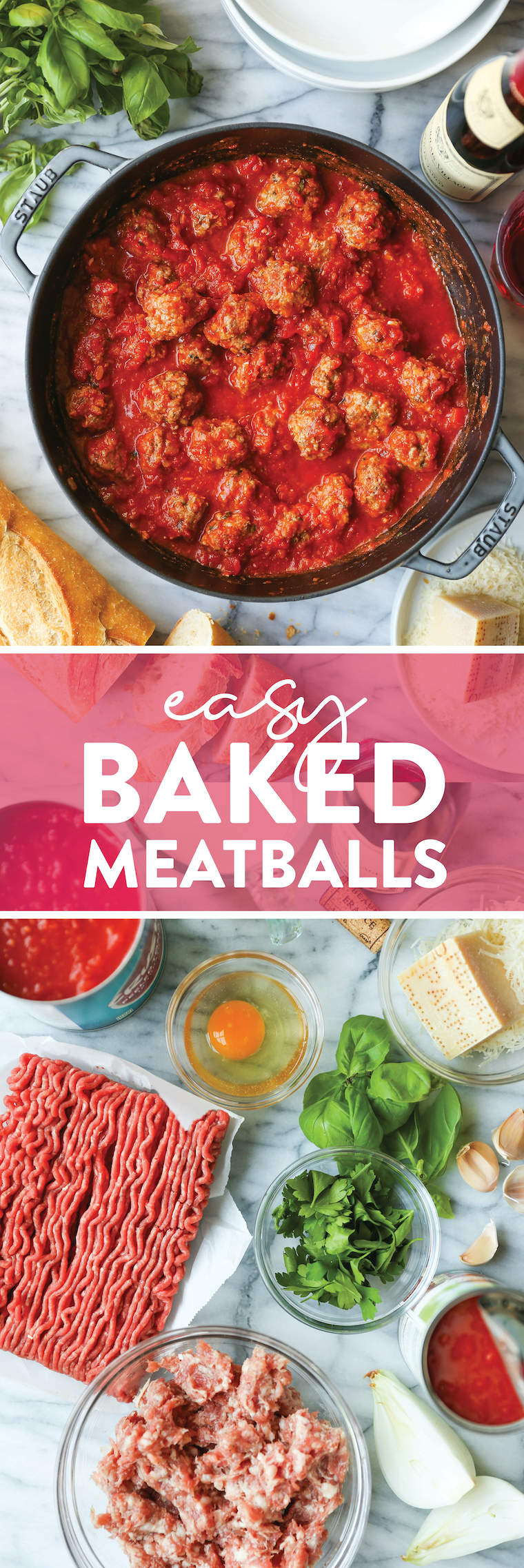 Easy Oven Meatballs - The ONLY Meatball Recipe You Need!  The meatballs are so perfect and so tender.  Serve over pasta, polenta or subs!