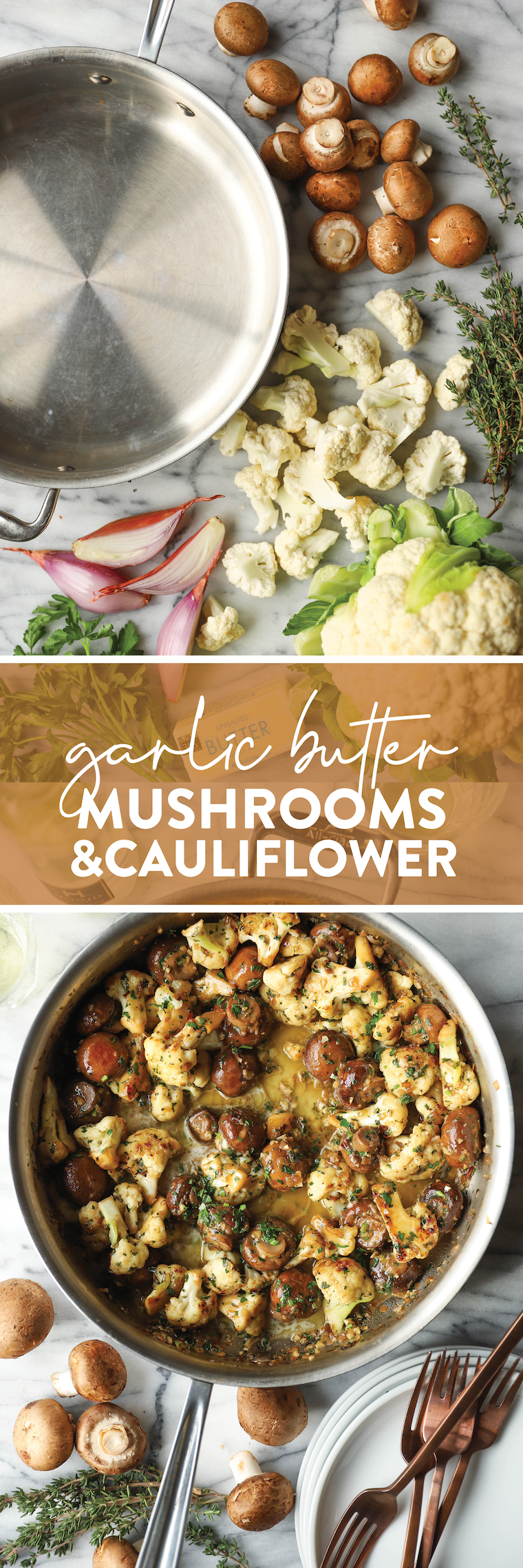 Garlic Butter Mushrooms and Cauliflower - The perfect side dish! Chockfull of veggies, easy to make + loaded with garlicky-buttery goodness!