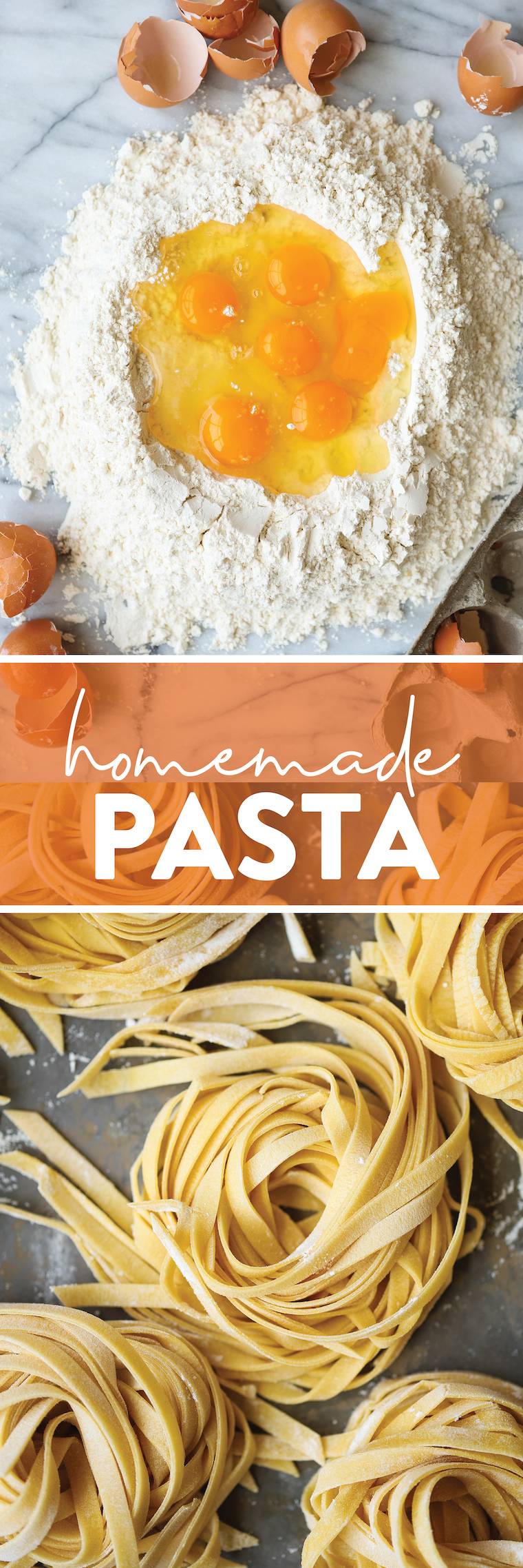Homemade pasta - fresh homemade pasta dough!  All you need are 4 ingredients and it's super easy (and versatile).  Perfect for any shape!