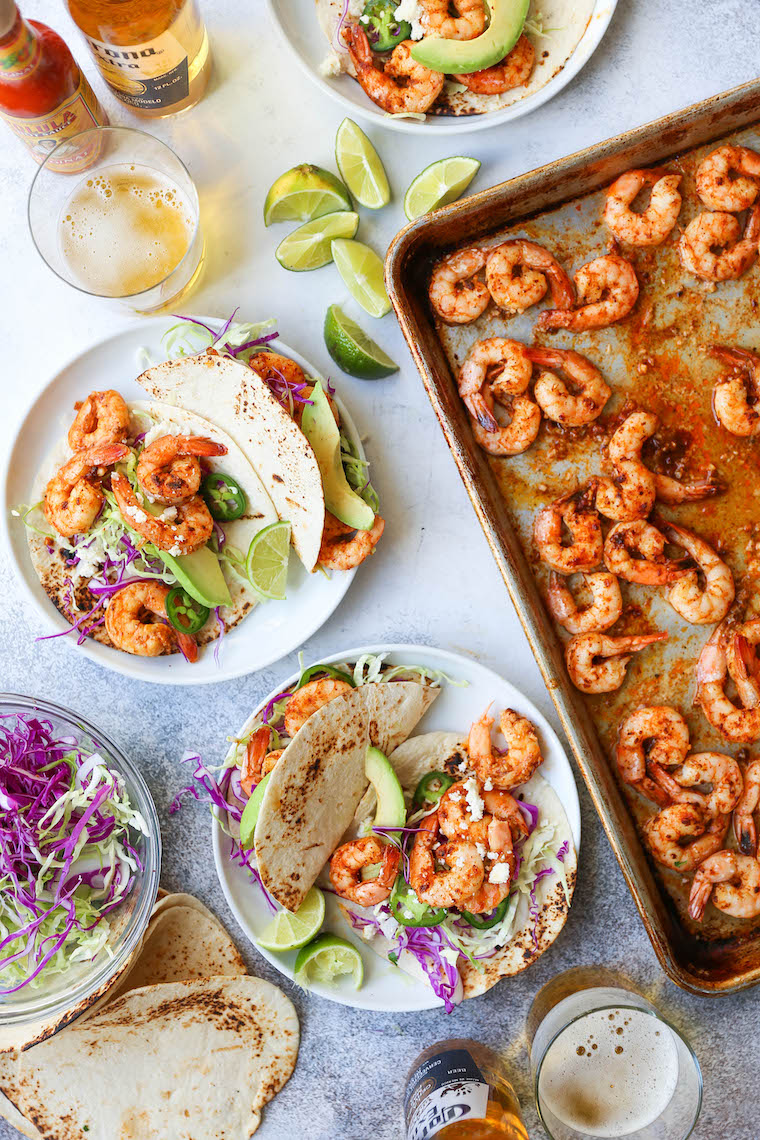 Shrimp Tacos on a Plate - The Easiest & Fastest Way to Make Shrimp Tacos!  So fresh and tasty, made in under 30 minutes.  Win-win!