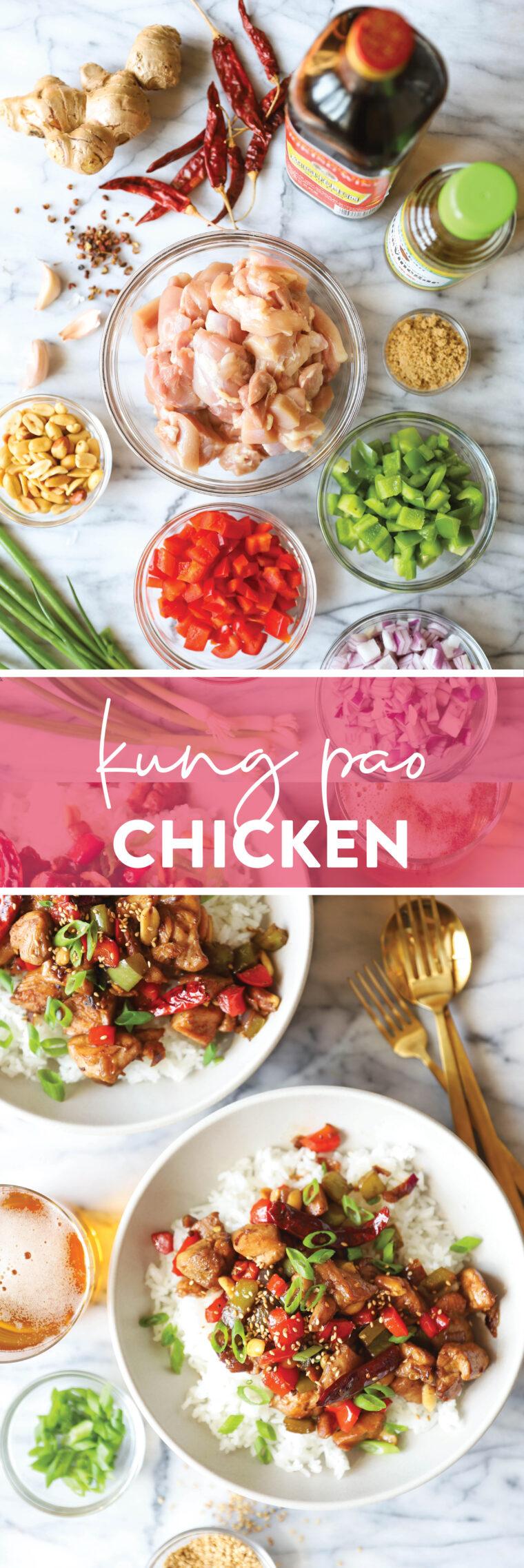 دجاج كونغ باو - دجاج مقلي مفضل للجميع يتم تحضيره بسهولة في المنزل!  مالح قليلاً ، حلو ، حامض + حار.  السرد الفائز!