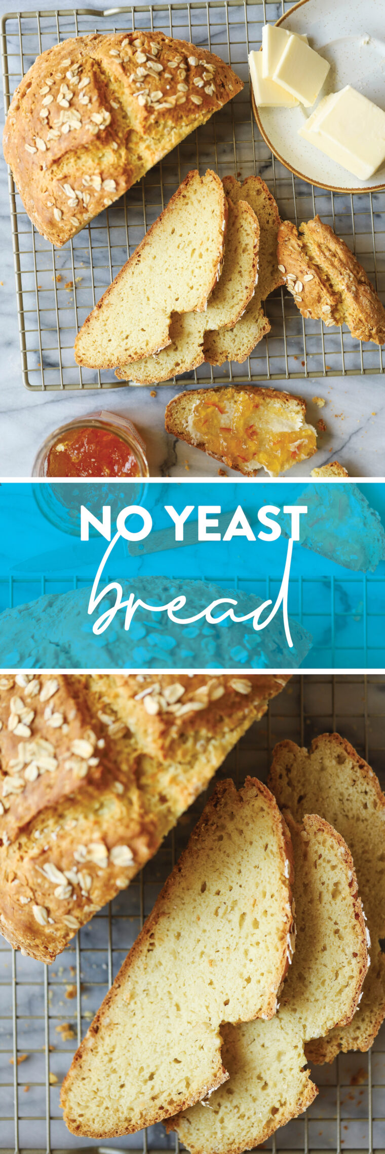 No Yeast Bread Yes, you can make beautiful homemade rustic bread without yeast, proof or rise.  Made quickly + easily.  And very good.