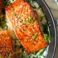 Salmon with Garlic Cream Sauce