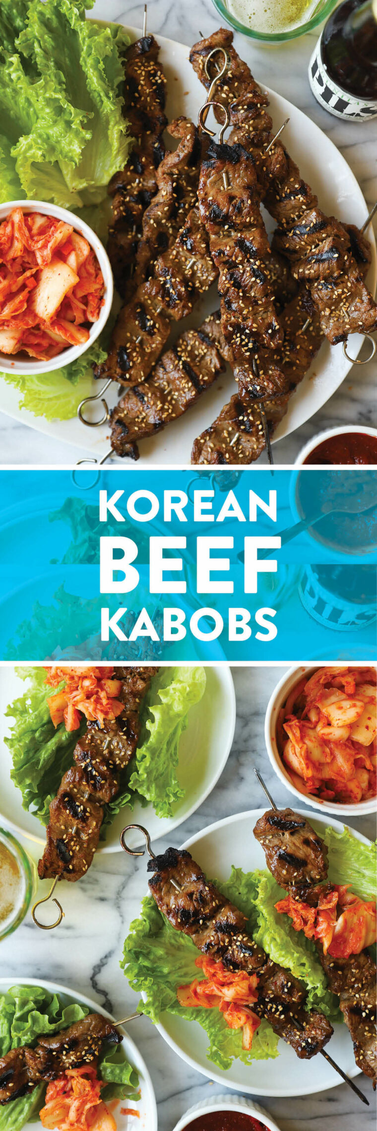 Korean Beef Kabobs - Everyone's favorite Korean BBQ made right at home with the most perfect and easy marinade ever, grilled to perfection.